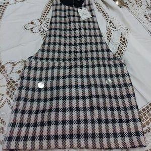 Zara tweed overall dress with metalic thread